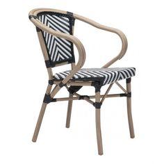 Zuo Modern Black & White Paris 703802 Dining Arm Chair