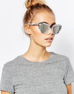 0c40d1902fad Quay Australia My Girl Mirror Cat Eye Sunglasses in Marble Frame