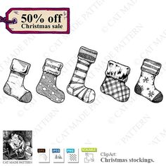 Christmas stockings. 50% OFF CHRISTMAS SALE! 5 vintage drawings for cutting out, digital clipart, digital stickers, vignette, #vector by CatMadePattern on Etsy. #Christmasstockings