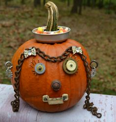Hardware decorated pumpkin - save the hardware use over again next year!