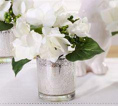3/13/2012 - on sale!  $14.99 each w/ free shipping  Faux Hydrangea Arrangement in Mercury Glass Vase #potterybarn