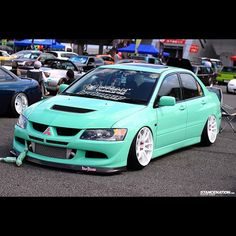 Loving the colors on this EVO! #mitsubishi #evo #stancenation - taken by @Connie Anderson Nation -