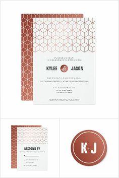 Geometric copper wedding suite