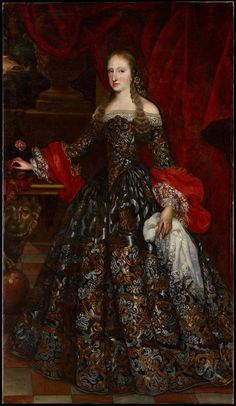 Atribuido a Claudio Coello, Madrid. Supposedly Maria Anna of Neuburg (Spanish: Mariana; 28 October 1667 – 16 July was Queen of Spain from 1689 to 1700 as the second wife of King Charles II. 17th Century Clothing, 17th Century Fashion, 18th Century, Renaissance Paintings, Renaissance Art, Historical Costume, Historical Clothing, Belle Epoque, Baroque Fashion