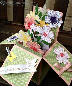 Flower Shop, Banner Blast & Adorning Thoughts stamps. Blushing Bride, garden Green & Pistachio Pudding C/S. Little Leaves sizzlit, Banner, Bitty Butterfly & Pansy Punches. Metallic clips, Bl Bride grosgrain ribbon.