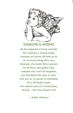 Wedding Program Poem. Honoring those who could not attend.