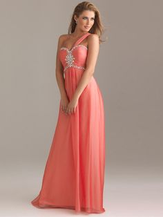 One Shoulder Chiffon Sheath/Column Floor-length Dress at dressestylish.com