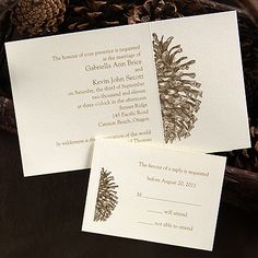 Pining Over You  A detailed image of a pinecone is printed in brown next to your wording on this ecru, non-folding invitation. Single envelopes are included. Envelope liners are not available. Wording set flush right as shown. Coordinating design 4125C available for napkins and favors.