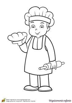 Coloriage et idée de déguisement pour Mardi gras, devenir un boulanger, page 2 sur 24 sur HugoLescargot.com Art Drawings For Kids, Easy Drawings, Art For Kids, Crafts For Kids, Animal Coloring Pages, Coloring Sheets, Sunday School Coloring Pages, Community Helpers, Handmade Birthday Cards