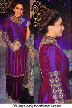 Madhuri Dixit Joya Silk Suit In Blue Colour Beautiful Pakistani Dresses, Pakistani Bridal Dresses, Shadi Dresses, Kurta Designs Women, Blouse Designs, Latest Wedding Dresses Indian, Bollywood Fashion, Bollywood Lehenga, Bollywood Style