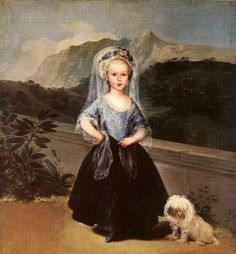 Francisco Goya (1746 – 1828, Spanish) maltese dog  Here we have another painting from the spanish Master Francisco Goya - the one who painted the Meninas, all the little spanish princesses together, a wonderful picture - and we are looking at the young spanish Princess Maria Teresa de Borbón with her little Maltese. I believe this little Princess loved her little white jewel lots and lots....little Princesses had rather difficult lives long ago and so her doggie friend must have meant a lot…