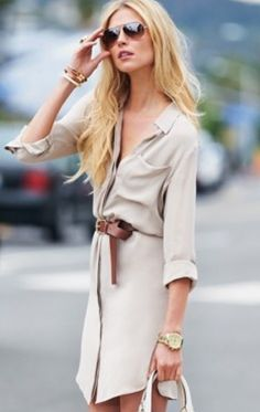 Tan button up dress with brown leather belt by Michael Kors