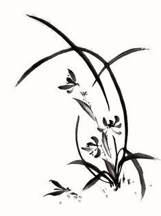 イラスト「水墨画 墨絵 蘭 花 」ぽじめく|イラスト無料素材のイラスト屋さん(イラスト発注、イラストレーター募集も)