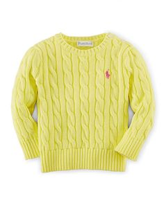 Cable-Knit Cotton Sweater - Baby Girl Sweaters - RalphLauren.com
