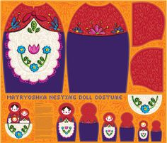 matryoshka nesting doll costume by sammyk on Spoonflower. So cute on and comes complete with pocket for the dolls (or Halloween candy!) Buy the fabric, sew your own! Purim Costumes, Cute Costumes, Carnival Costumes, Baby Costumes, Halloween Costumes, Costume Ideas, Gothic Halloween, Fall Halloween, Halloween Candy