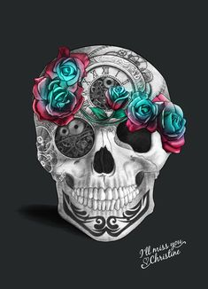 Skull Illustration by Christine Calo. Tattoo ideas. Similar to the one I have on my back without all the frilly stuff. Still cute here though. Just not into all those flowers. The blonde in the pic.