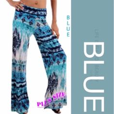 PALAZZOS NEVER GO OUT OF STYLE! Tribal patterns in comfortable palazzos. 95% polyester, 5% spandex. Made in USA. SPECIFY COLOR & SIZE. RUNS LARGE!              PLEASE DO NOT BUY THIS LISTING, I will personalize one for you. tla2 Pants
