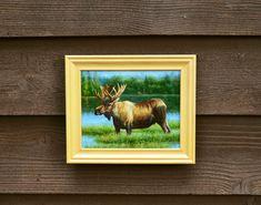Moose Landscape Painting, Vintage Framed Moose Painting on Board Bull Moose, Cottage Art, Plant Shelves, Vintage Frames, Plant Holders, Vintage Flowers, Amazing Art, Landscape Paintings, Framed Art