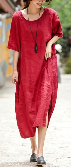 2018 red embroider fabric long linen dress plus size o neck side open traveling dress vintage half sleeve baggy dresses Baggy Dresses, Linen Dresses, Cotton Dresses, Casual Dresses, Short Sleeve Dresses, Red Summer Dresses, Summer Maxi, Linen Summer Dresses, Dress Outfits