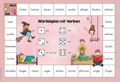Three dice games on nouns, verbs and adjectives In cooperation with JacMo are . - Three dice games on nouns, verbs and adjectives In cooperation with JacMo, three new dice games have - School Material, Five Senses Preschool, German Grammar, Nouns And Verbs, Languages Online, German Language Learning, Learn German, Speech Therapy Activities, Primary School