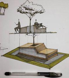 landscape architecture model A R C H I - landscape Perspective Architecture, Architecture Design Concept, Plans Architecture, Landscape Architecture Drawing, Residential Architecture, Landscape Design, Urban Landscape, Architecture Geometric, Garden Design
