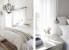 mix of materials: industrial pendant light, crystal chandelier, painted and raw woods, white linen bedding