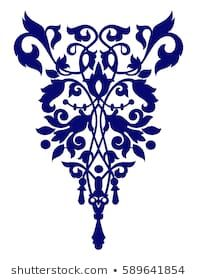 vintage blue ornament Hand Embroidery Designs, Beaded Embroidery, Embroidery Patterns, Arabesque, Arabic Pattern, Celtic Patterns, American Quilt, Henna Tattoo Designs, Stencil Designs