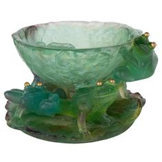 "Art Glass Pate de Verre ""Les Grenouilles"" Footed Bowl by Daum 1"