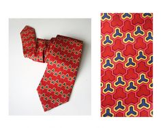 Geometric tie red recycle upcycle repurposed neck tie by MensSilk