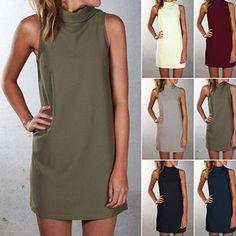 Women Fashion Sleeveless High Neck Dress - $11.99. https://www.bellechic.com/deals/59fdc1479e1e/women-fashion-sleeveless-high-neck-dress