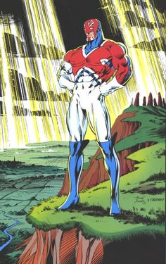 Captain Britania, Back Cover from Excalibur by Paul Neary and Alan Davis.