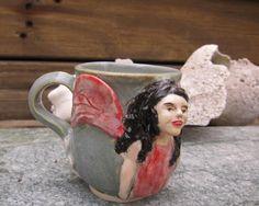 Raven-haired Fairy and White Flower Porcelain Espresso Mug - Handmade Pottery