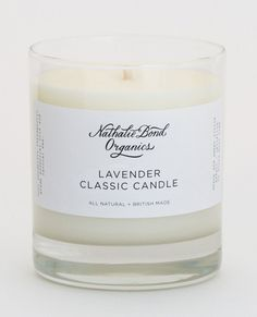 Nathalie Bond Organics Lavender Candle - Large: When lit this organic lavender candle is both soothing and up lifting. The scent will fill your room with a welcome peaceful ambience. The candles are 100% natural soy wax. No added chemical fragrances.