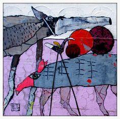 Elke Trittel acrylics,collage on board 20/20cm