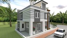 Home Design Plan with 4 Bedrooms - SamPhoas Plan 4 Bedroom House Plans, Duplex House Plans, Best House Plans, Modern House Plans, Building A Small Cabin, Building A Porch, House Layout Plans, House Layouts, Simple House Design