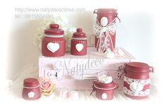 bocaux de déco peint avec dentelle couleur bordeaux en vente sur http://www.natydecocorse.com