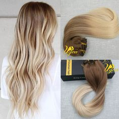 Balayage European Ombre Brown Blonde Clip in Human Hair Extensions Full Head Hot #Ugea #Ombr