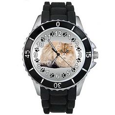 BMSC306 Persian Cat Mens Ladies Unisex Fashion Black Jelly Silicone Wrist Watch -- Continue reading at the image link.