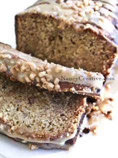 Caramel toffee banana bread w/caramel glaze
