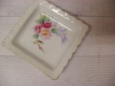 Beautiful Vintage Porcelain Square Butter by TheRiversEdgeVintage