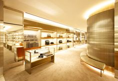 Gucci retail store interior. Love the gold.