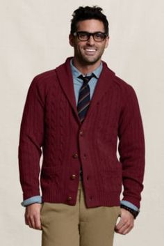 Men's Cable Shawl Cardigan from Lands' End Canvas
