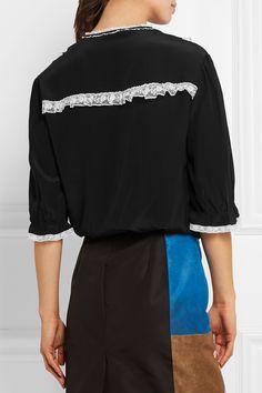 ba8f6e0c5f3d Prada - Lace-trimmed silk crepe de chine blouse