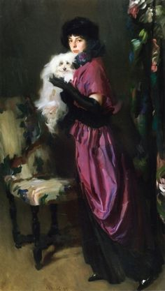 woman and dog art | Elegant Woman with Her Dog Painting US$ 199.09