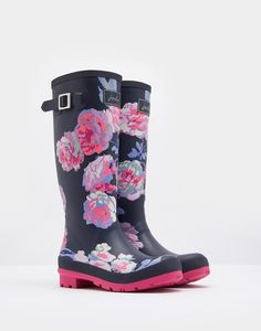 Printed French Navy Beau Bloom Wellies | Joules UK