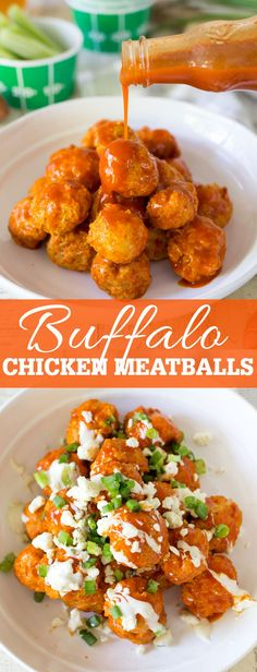 Buffalo Chicken Meatballs with a blue cheese drizzle are the perfect zesty and delicious game day party appetizer!