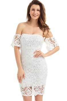 White Short Sleeve Off Shoulder Strapless Lace Bodycon Dress MB220026-1 – ModeShe.com