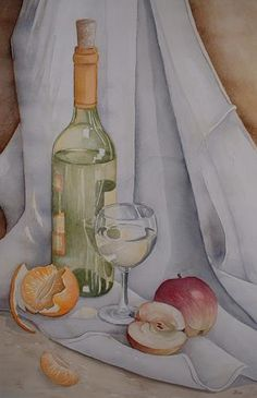 Still Life Sketch, Still Life Drawing, Still Life Art, Watercolor Fruit, Watercolour Painting, Pencil Art Drawings, Art Sketches, Wine Painting, Object Drawing