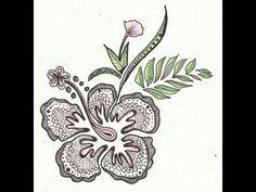 ▶ Zentangle Flower - YouTube
