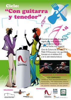 """Nueva cita """"Con Guitarra y Tenedor"""" en Burlada. Los Compadres sobre el escenario. A la luz de las velas, cena picoteo y vinos Navarra. 5 de mayo. 21 horas."""